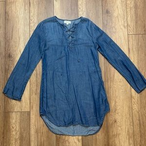 Cloth & Stone Denim Dress Front Ties Sz S
